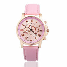 Women's Fashion Geneva Roman Numerals Faux Leather Analog Quartz Wrist Watch
