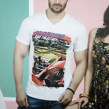 Mens Wear Printed Cotton Tshirt, V-Neck Half Sleeves T-Shirt For Casual Wear