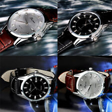 Classic Men's Business Casual Watch Quartz Round Dial Display Leather Stap