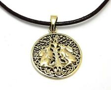 Double hares bronze pendant necklace Lisa Parker choose leather or vegan cord
