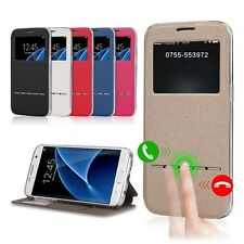 Flip PU Leather Smart Window View Stand Case Cover For Samsung Galaxy