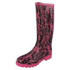 Mujer x1103 ROSA Wellington Con Negro FLOREADO Red estampado de Ajustadas