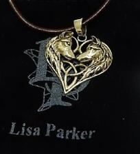 Wolf Heart bronze pendant necklace by Lisa Parker on brown leather or vegan cord
