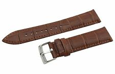 Brown Genuine Leather 18mm 19mm 20mm Strap/Band fit Omega Watch Silver Buckle