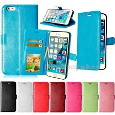 Pure Color 3 Card Holder Flip PU Leather Case Cover Wallet Stand For i