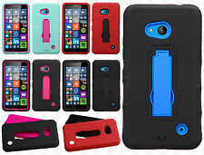 For Nokia Lumia 640 Impact Hard Rubber Kick Stand Case Phone Cover Acc