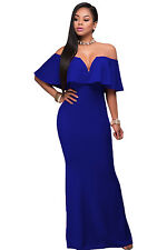 New Sexy Ladies Royal Blue Ruffle Off Shoulder Maxi Dress Size 8 10 12 14 UK