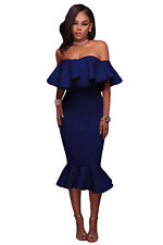 New Sexy Navy Blue Ruffle Off Shoulder Mermaid Midi Dress Size 8 10 12 14 16 UK