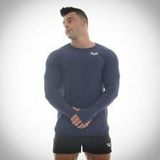 Mens Gym Wicking Fitness Workout Fitted Long Sleeve T-shirt Blue By GYMFREAK