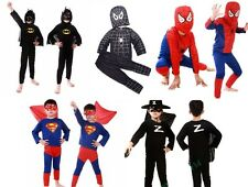 Boy Kid Children Superhero Fancy Dress Costume Spiderman Batman Halloween Outfit