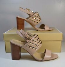 NIB MICHAEL KORS VALENCIA ANKLE STRAP OYESTER LEATHER HGH HEELS SHOES SZ 6-9