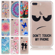 For iPhone 7 6s Plus Soft TPU Rubber Ultra Slim Patterned Case Clear B