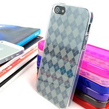 For Apple iPhone 5S 5 Colorful Argyle Hard Gel TPU Skin Case Cover Acc