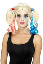 Smiffy's Womens Twisted Harlequin Wig Curly Blonde Pink & Blue Costume Accessory