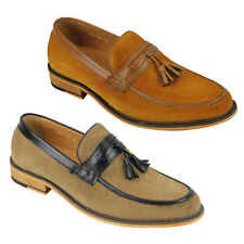 Mens 100% Real Suede Leather Trim Penny Loafers Vintage Tassel Shoes Brown Tan