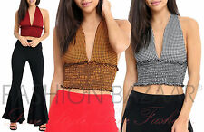 Gingham Check Crop Top Tie Knot HalterNeck Shirred Bralet Womens Vest Top Cheap