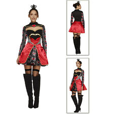 Smiffys Fever Womens Queen Of Hearts Ladies New Fairytale Fancy Dress Costume