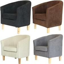 Designer Linen Velvet Fabric Tub Chair Armchair Living Dining Room Office FREE