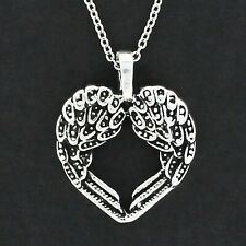 Angel Wing Heart Necklace - Pewter Pendant on Cable Chain Feathers Wings NEW