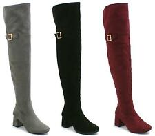 Ladies Womens Over The Knee Thigh High Mid Block Heel buckle Zip Stretch Boots S