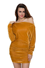 New Sexy Ladies Off Shoulder Gold Velvet Ruched Bodycon Mini Dress 8 10 12 14