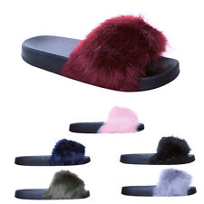 Womens Ladies Fluffy Sliders Black Sole Slippers Slides Sandals Fur Shoes Size