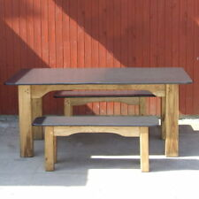 Slate & Oak Dining Room Table / Large Wooden Table with Single-Piece Slate Top /