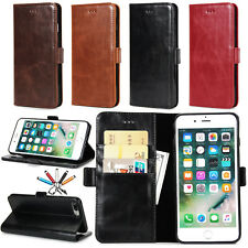 Vintage Leather Flip Stand Card Wallet Case Magnetic Cover For iPhone