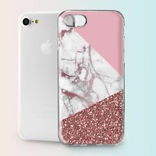 Pink Geometry Marble Design TPU Silicone Cover Case Back Apple iPhone