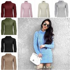 Ladies Womens Cable Knitted Polo Roll Neck Jumper Long Sleeves Stretch Dress