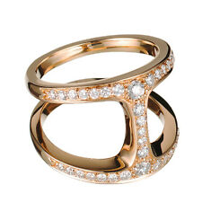 Rose Gold Plated 925 Pure Sterling Silver CZ Women's Attractive Hoorsenbuhs Ring