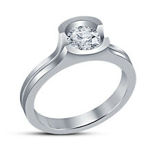 White Round Cut CZ Sterling Silver Attractive Look Solitare Ring For Women's