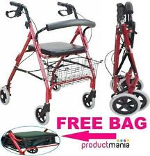Mobility Rollator folding Walking Frame 4 Wheeled walker with seat basket  tray