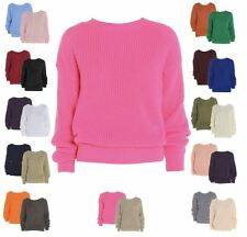 New Womens Ladies Chunky Knitted Baggy Jumper Sweater Plus Size 8-18