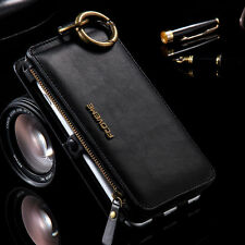 For iPhone 7 6S Plus Samsung S7 Luxury Genuine Leather Cover Flip Wall