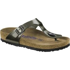 Birkenstock Gizeh Nl Sfb Femmes Chaussures Tongs - Metallic Anthracite