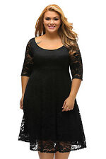 New Classy Black Floral Lace Sleeved Fit and Flare Midi Dress 16 18 20 22 24
