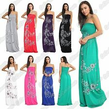 New Ladies Sleeveless Strapless Floral Panel Print Bandeau Sheering Maxi Dress