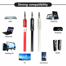 FLAT AUX Auxiliary Audio Cable 3.5mm Male To Male For Car AUX to Phone Tablet 1M