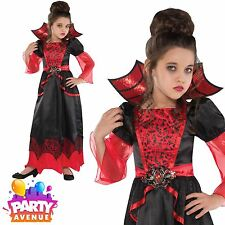 Girls Halloween Vampire Queen Fancy Dress Costume Vampiress Outfit