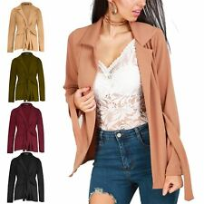 Womens Ladies Casual Tie Belted Open Front Collared Pockets Jacket Coat Blazer