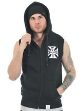 Top sin Mangas con Capucha West Coast Choppers Iron Cross - With Full Zip Negro