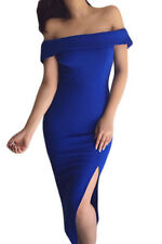New Sexy Ladies Off Shoulder Blue Side Slit Bodycon Midi Dress 8 10 12 14 16 UK