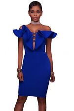 New Sexy Ladies Blue Off Shoulder Ruffle Bodycon Mini Dress 8 10 12 14 16