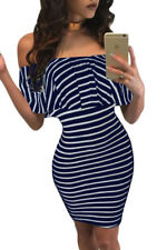 New Sexy Blue White Striped Off Shoulder Bodycon Mini Dress 8 10 12 14 UK