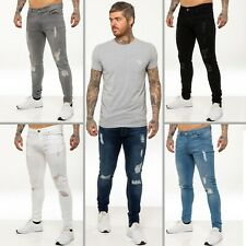 New Mens ENZO Super Skinny Stretch Ripped Denim Distressed Jeans