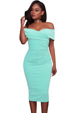 New Sexy Off Shoulder Light Blue Ruched Bodycon Midi Dress 8 10 12 14 16 UK