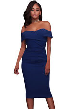 New Sexy Off Shoulder Navy Blue Ruched Bodycon Midi Dress 8 10 12 14 16 UK