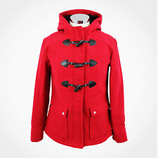 Womens Ladies Red DUFFLE Trench Winter Warm Wool Zip Coat Jacket Hooded Toggles