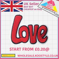 Red Love Text (Iron on) Wholesale Embroidery Applique Patch Sew Iron Badge 20p +